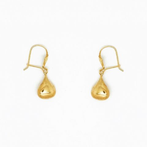 Genuine 9ct Yellow Gold Small Liquid Drop Blob Earrings